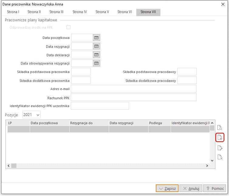 Edycja danych kadrowych